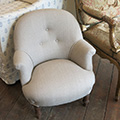 French Nursery chair covered in Taupe linen
