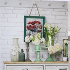 House Beautiful April 2015, flower painting and grey candlesticks