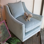 Malplaquet chair covered in Romo pale blue velvet.