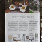 Homes & Gardens April 2014. Capucine chairs at Bert's Box at The Pig