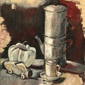 Cafetière. Still-life, oil on canvas from France