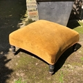 French vintage footstool, star shape with turned black legs. C1900. Ready to be reupholstered and sold at a very good sale price ! (£135.)French vintage footstool, star shape with turned black legs. C